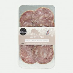 Marsh Pig, Garlic & Black Pepper Salami Sliced